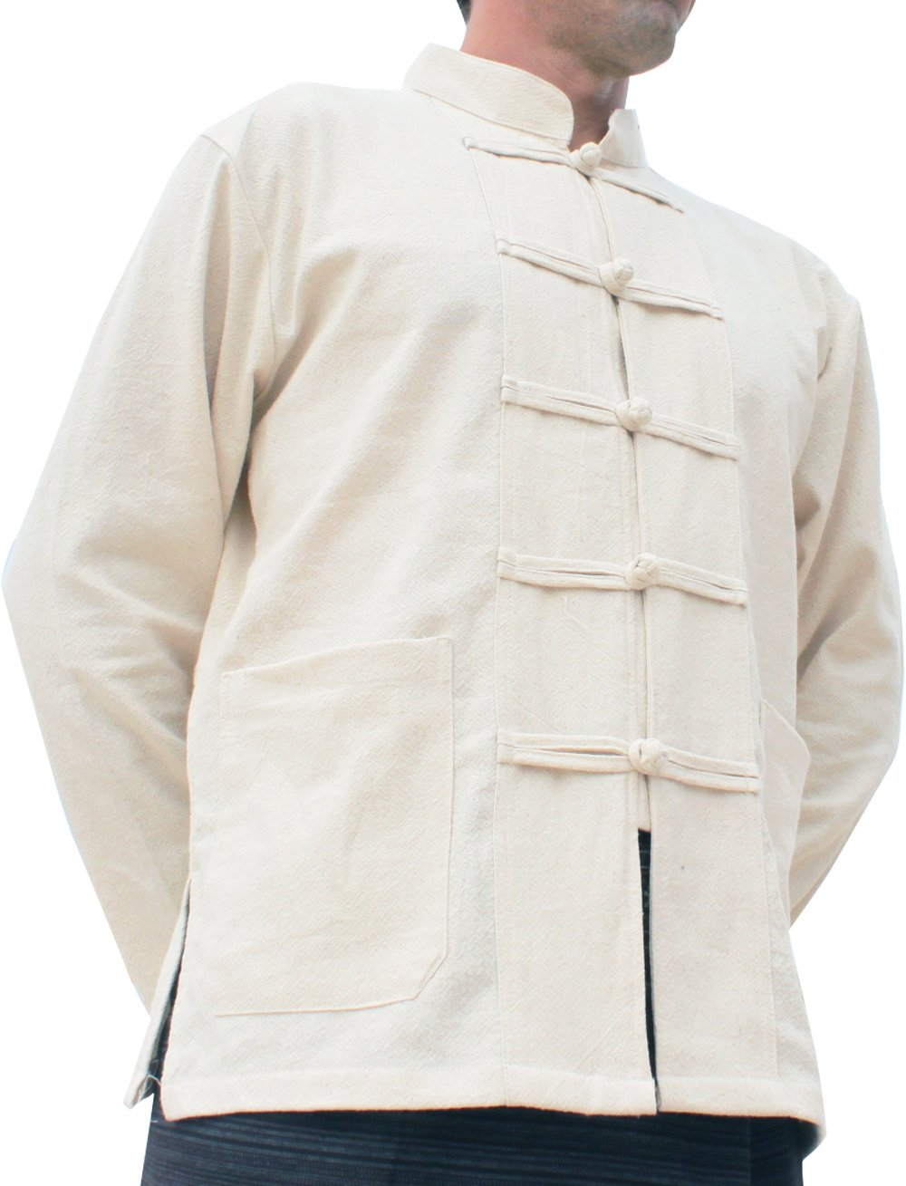 RaanPahMuang Thick Muang Cotton Frog Button Chinese Jacket Shirt Plus, XXX-Large, Natural Cream