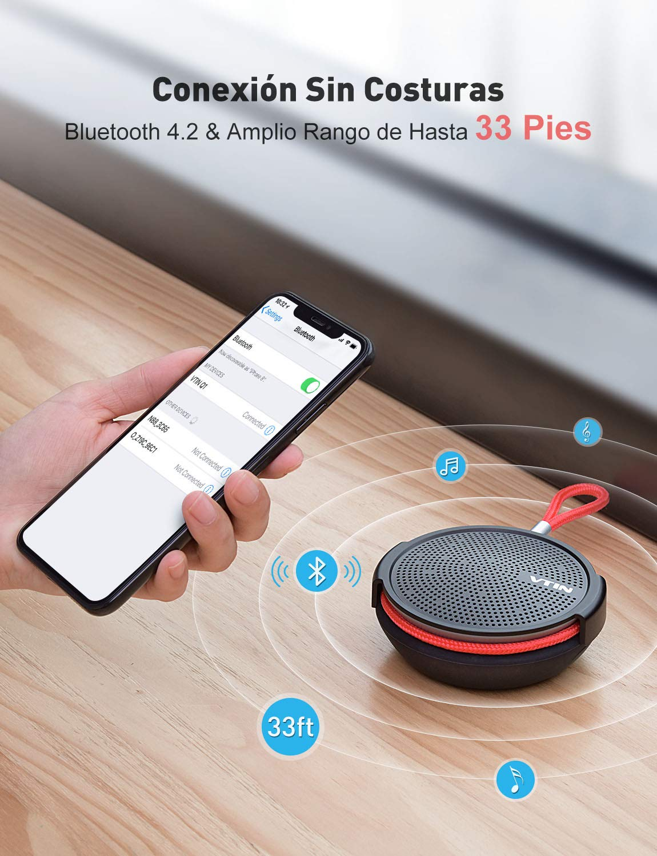 Altavoz port/átil con Bluetooth 10H Tiempo de reproducci/ón Exterior Adecuado para ducha Altavoz impermeable de 8W Micr/ófono incorporado Playa Vtin Q1 Altavoz Bluetooth Soporte de tarjeta SD
