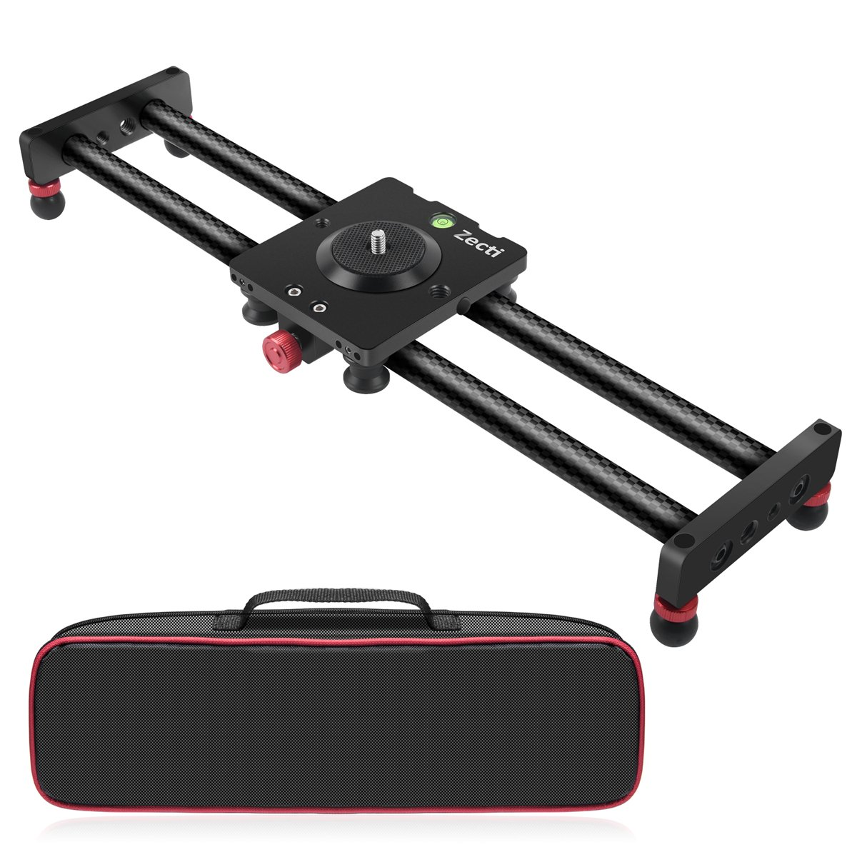 """Zecti Camera Slider Carbon Fiber Dolly Rail, 15.7""""/40cm Portable Dolly Track with 4 Bearings for Smartphone Nikon Canon Sony Camera 12lbs Loading"""