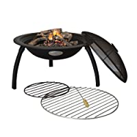 Harbour Housewares Fire Pit Patio Heater/Grill / BBQ - Black Steel - 540mm Diameter