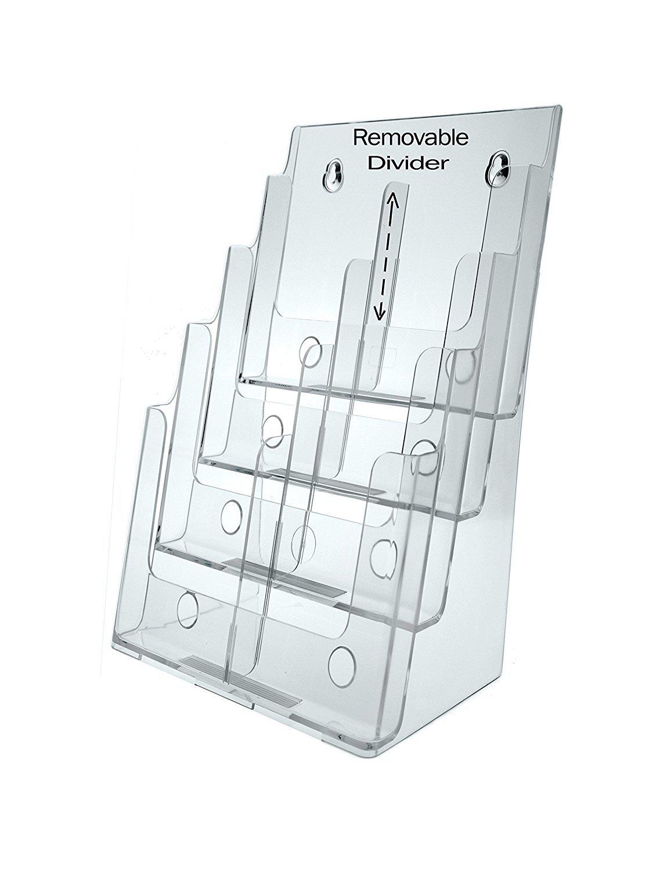 Magazine Rack Letter Size Brochure Holder 8-1/2'' X 11'' Literature Display 4 Tier Qty 6