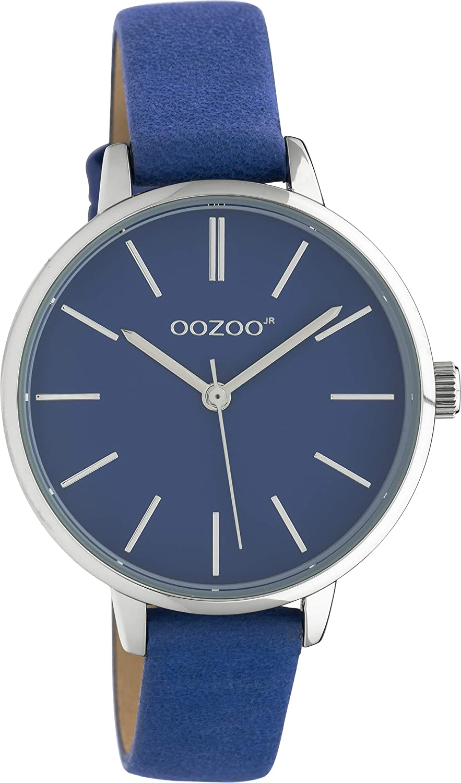 Oozoo JR313 - Reloj de pulsera para mujer con correa de piel (34 mm), color azul y azul