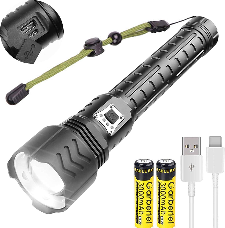 Linterna LED superbrillante de 12000 l/úmenes 5 modos recargable por USB deportes y bater/ías incluyen WholeFire XHP90 potente linterna con zoomable para acampar al aire libre