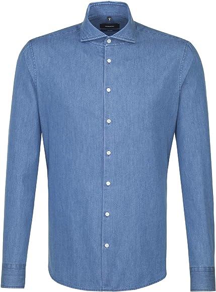 Seidensticker 248997 - Camisa de Manga Larga para Hombre, diseño de tiburón Azul (14). 45: Amazon.es: Ropa y accesorios