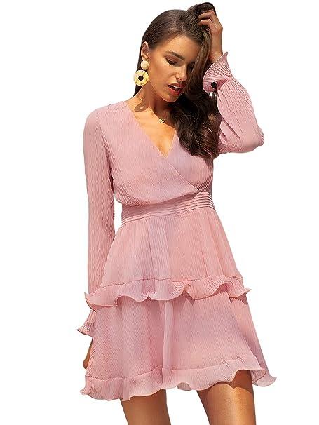 MsLure Damen Kleid Elegant Kurz Langarm V Ausschnitt Volant