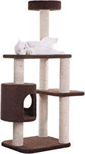 Armarkat 2013 Carpeted Cat Tree Gym Scratching Post F5502 Coffee Brown 54 inch