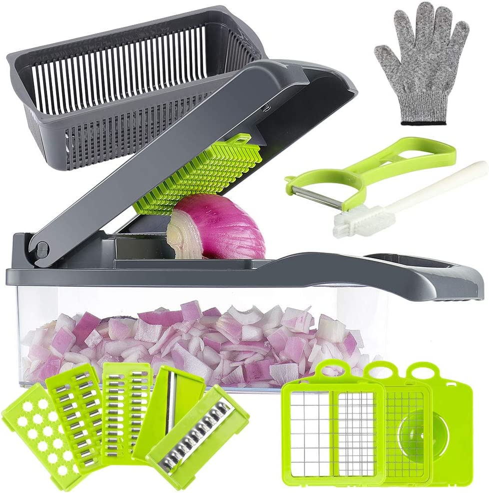 Valuetools Onion Chopper Vegetable Chopper Mandoline Slicer Dicer with Colander Basket And Container Food Chopper Onion Cutter with Protective Gloves(Gray)