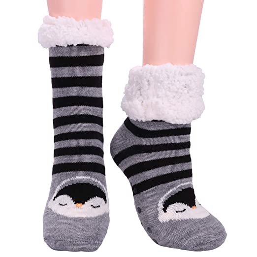 f2f90c878 Womens Fuzzy Slipper Socks Fleece Lined Cozy Winter Ladies Cute Thermal  Warm Home Socks with Grippers Christmas Gift New Year Thick Animal Socks  Grey black ...