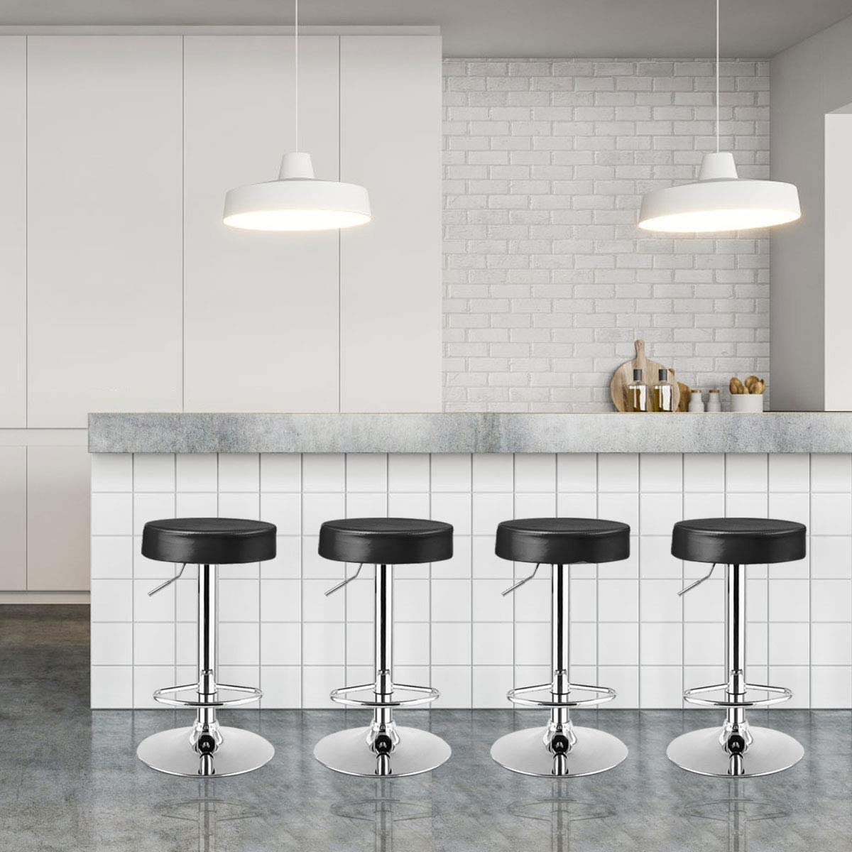 COSTWAY Bar Stool, Modern Swivel Backless Round Barstool, PU Leather Armless bar Chair with Height Adjustable, Chrome Footrest, Sturdy Metal Frame for Kitchen Dining Living Bistro Pub 4 pcs, Black