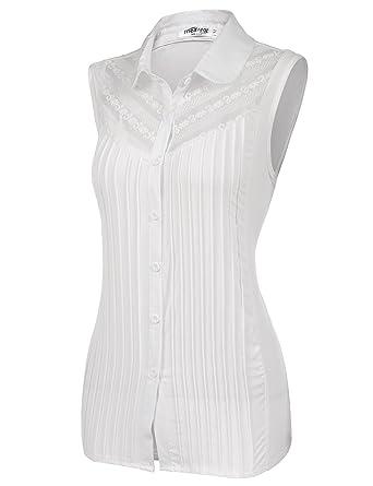 2944f6de18487 Meaneor Womens Button Down Chiffon Lace Sleeveless Blouse Shirt (White XXL)  at Amazon Women s Clothing store