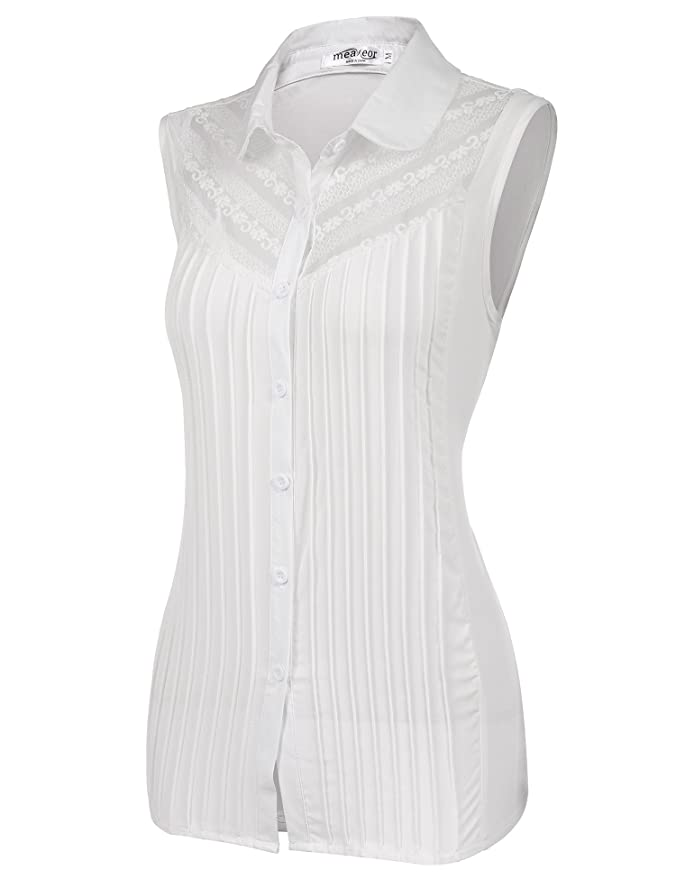 bd044f82e0c Meaneor Womens Button Down Chiffon Lace Sleeveless Blouse Shirt ...