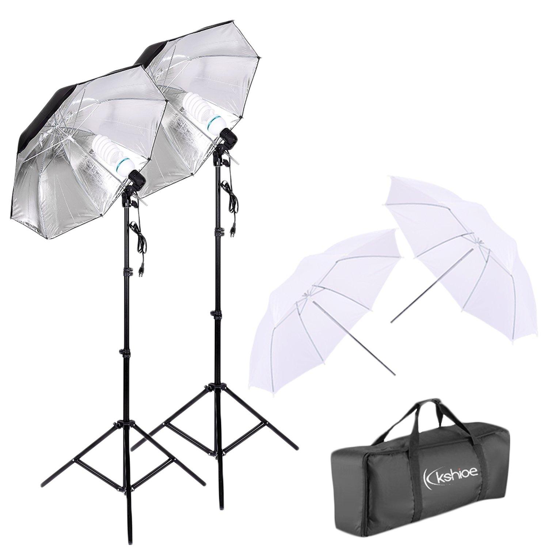 Kshioe 450W Photography Dual Photo Umbrella Lighting Video Continuous Light Kit-Black/Silver &White Umbrella Reflector+ Photo Light Bulb+ Tall Studio Umbrella Flash Strobe Light Stand by Kshioe
