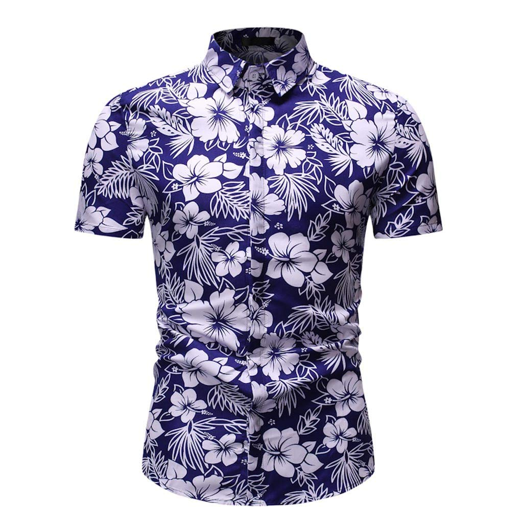 Stoota Mens Slim Fit Tee-Beach Blouse,Printed Top Dess Shirt Turn-Down Collar