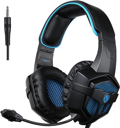 SADES SA-807 PlayStation 4 Pro Xbox One S - Auriculares de diadema estéreo con micrófono para PC, PS4, iPad, tablet, Mac, color negro y azul: Amazon.es: Electrónica