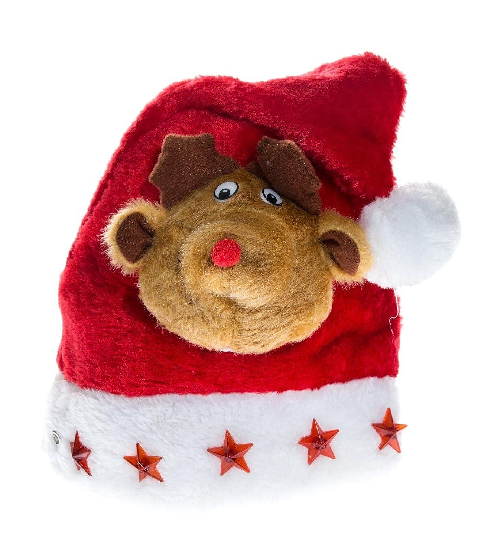 Weihnachtsmütze Nikolausmütze Rot mit Elch Kopf Rudolf Kuscheltier Flashing Led X16