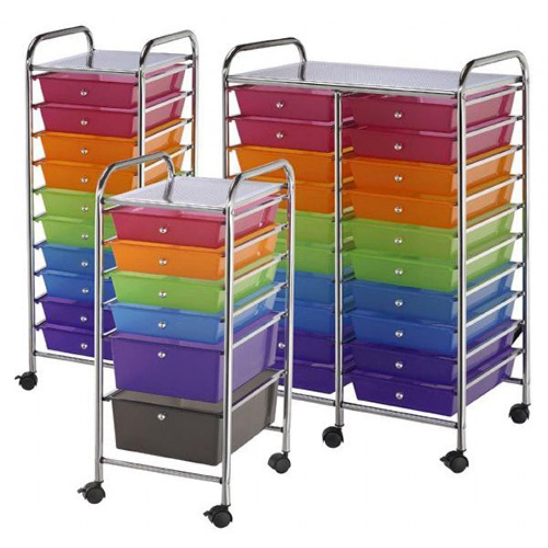 Amazon.com: Double Storage Cart W/20 Drawers 25.5x38x15.5 Multicolor:  Kitchen U0026 Dining