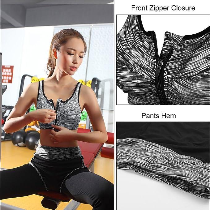Fitibest Reggiseno Sportivo e Pantaloni per Yoga con Chiusura a Lampo per  Donne (M 368b3058a3d