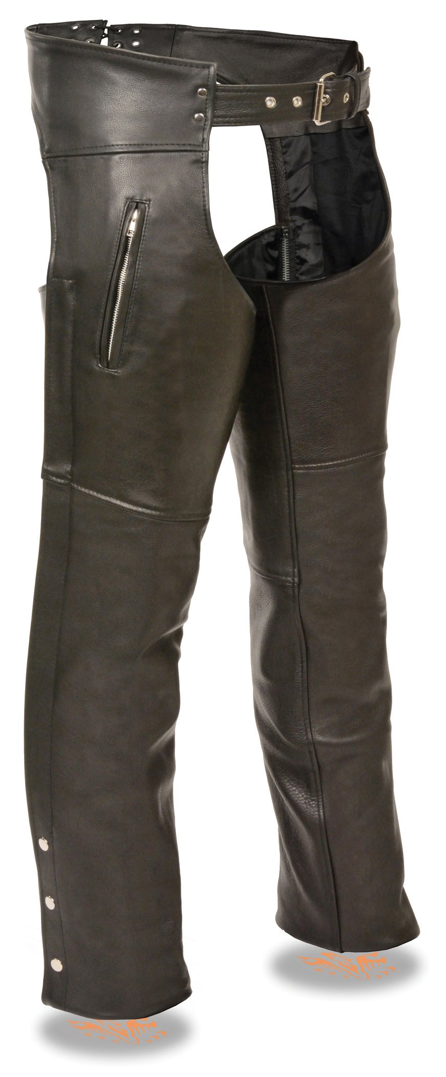 Milwaukee Leather Men's Leather Chap w/ Zippered Thigh Pockets (Black, M)