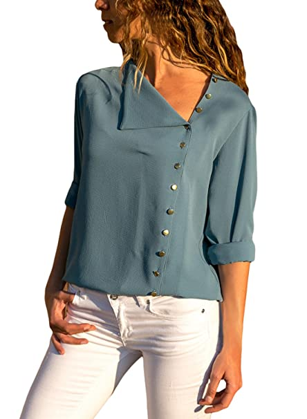 f071d6005d8 Womens Blouses Long Sleeve Button Detail Loose Fitting Casual Solid Chiffon  Blouse Tops Shirt at Amazon Women's Clothing store: