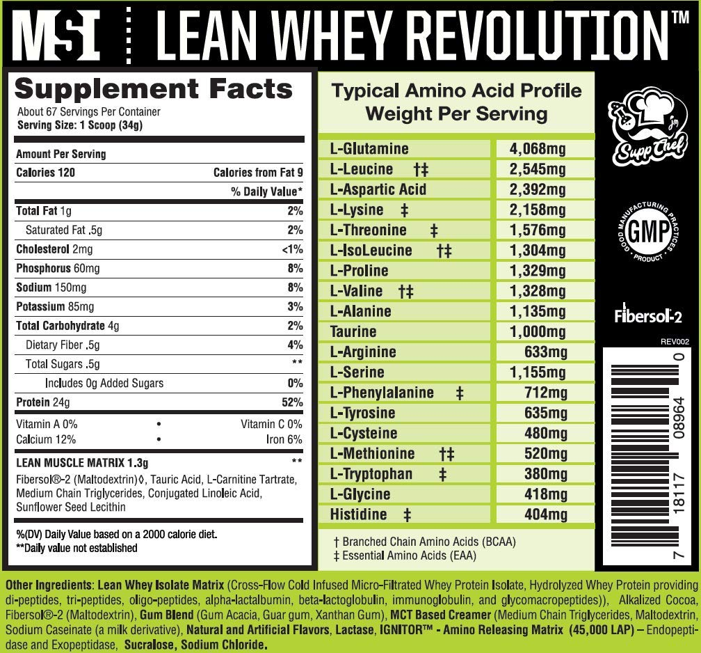 MuscleSport Lean Whey Revolution Protein Powder, Whey Protein Isolate, Fat Burning, Weight Loss, Low Calorie, Low Carb, Low Fat, Incredible Flavors Chocolate Ice Cream, 5lb