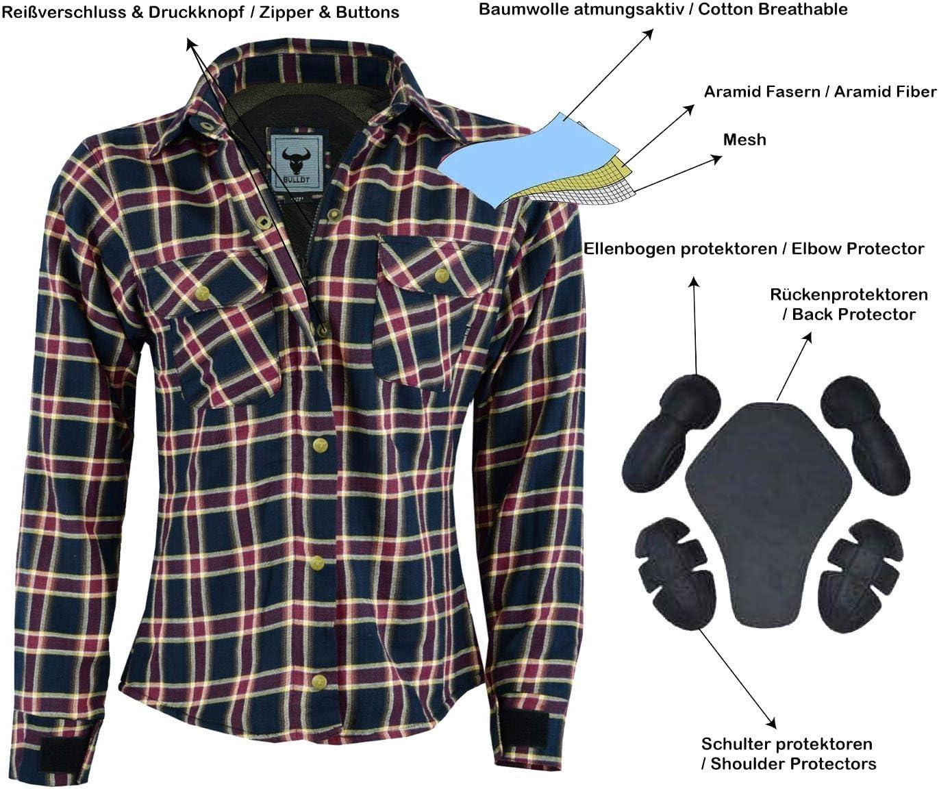BULLDT Damen Motorradhemd Holzf/äller-Look Hemd mit Protektoren 36//S Rosa