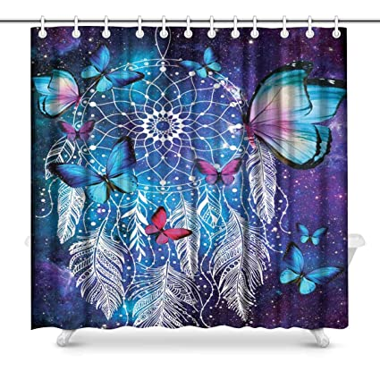 Image Unavailable Not Available For Color INTERESTPRINT Dreamcatcher Pink Blue Butterfly Bathroom Decor Shower Curtain