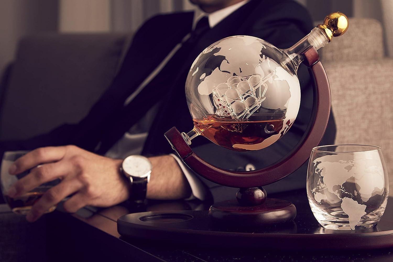 Whiskey Decanter Globe Set with 2 Etched Globe Whisky Glasses  for Liquor Scotch Bourbon Vodka