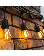 OxyLED Outdoor Garden String Lights,48ft IP65 Waterproof Heavy Duty Commercial LED String Indoor/Outdoor Patio Lights,Garden Terrace Outside Lights for Party,Birthday,Christmas,Wedding(Warm White)