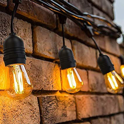 OxyLED LED Lichterkette Außen,S14 Lichterkette Glühbirne LED Retro,15M IP65 Wasserdicht,15X2W LED Birnen E27 Warmweiß 2500K B