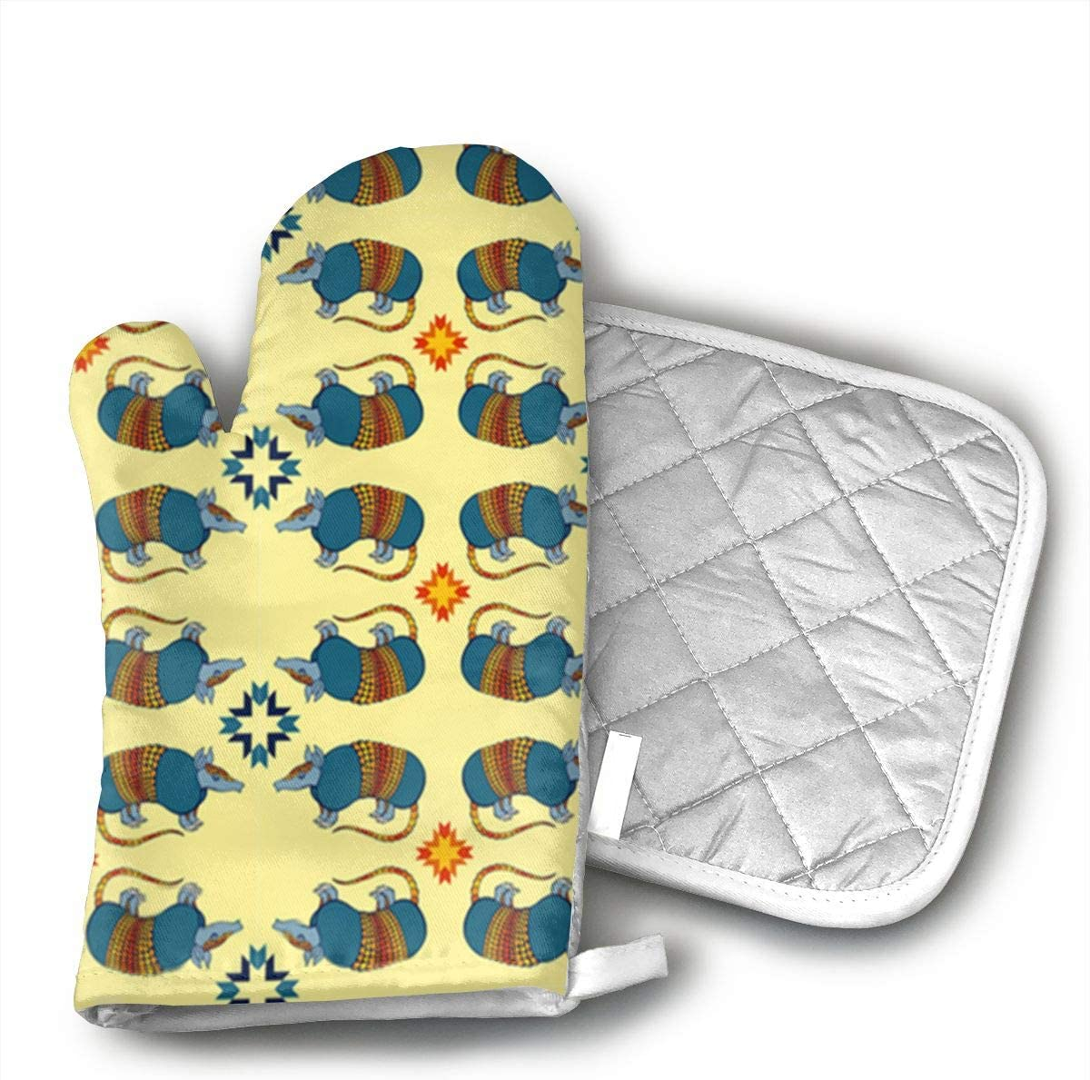 Southwestern Armadillo On Yellow Oven Mitts and hot Pot mat for Cooking Grill