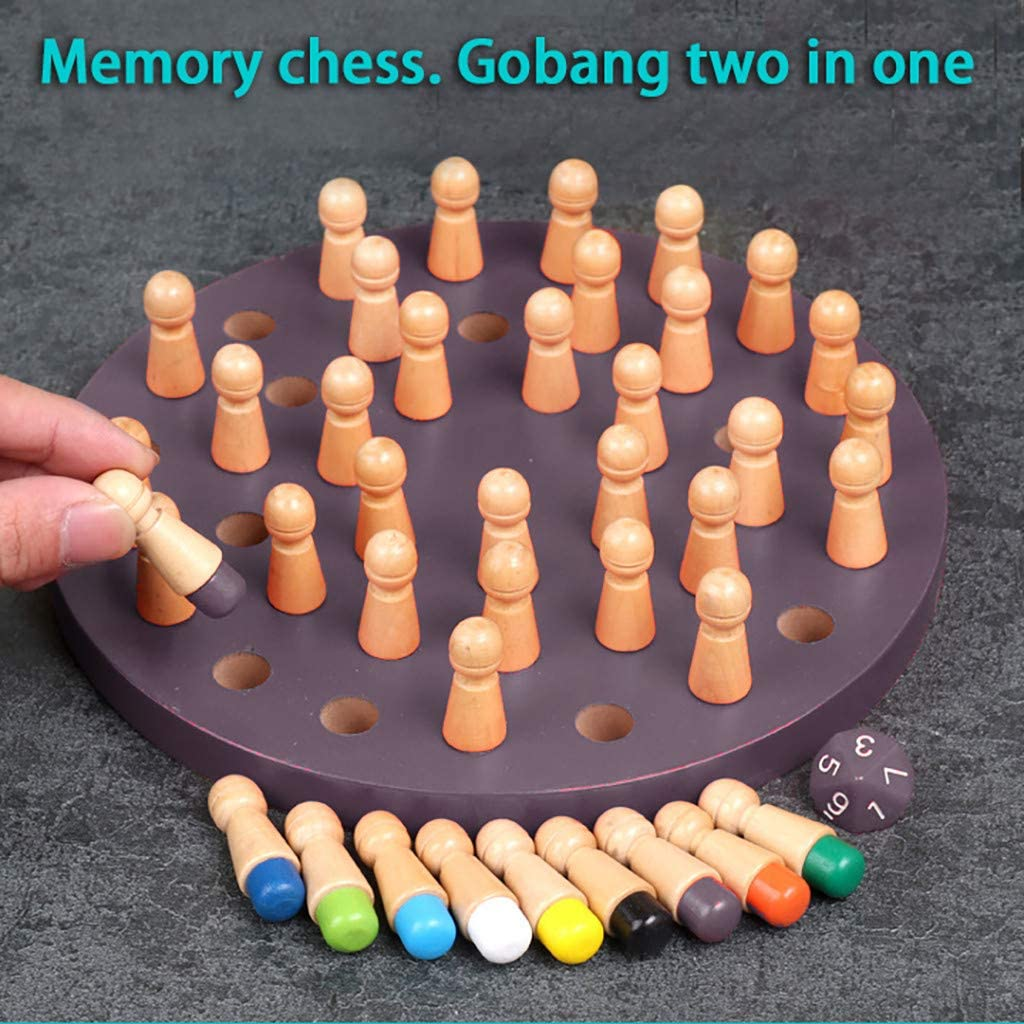 2-in-1 Memory Chess and Gomoku Chess Purple Wooden Memory Matchstick Game Educational Memory Wooden Chess Wooden Memory Chess for Kids Gift for Kids Available in Both Side