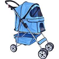 BestPet 4 Wheels Pet Stroller Cat Dog Cage Stroller Travel Folding Carrier 04T