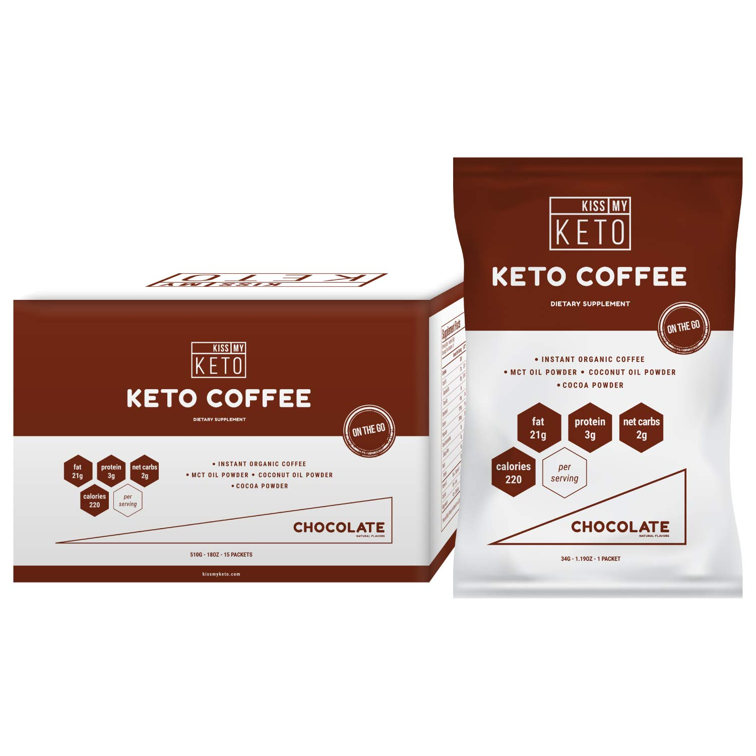 Kiss My Keto Chocolate Instant Coffee - Keto Coffee, Ketogenic Fat Coffee w Coconut Oil MCT Creamer for Ketosis and Ketone Diet. Low Carb, No Ghee Butter, Sugar Free Cafe Chocolate Coffee, 15 Servings