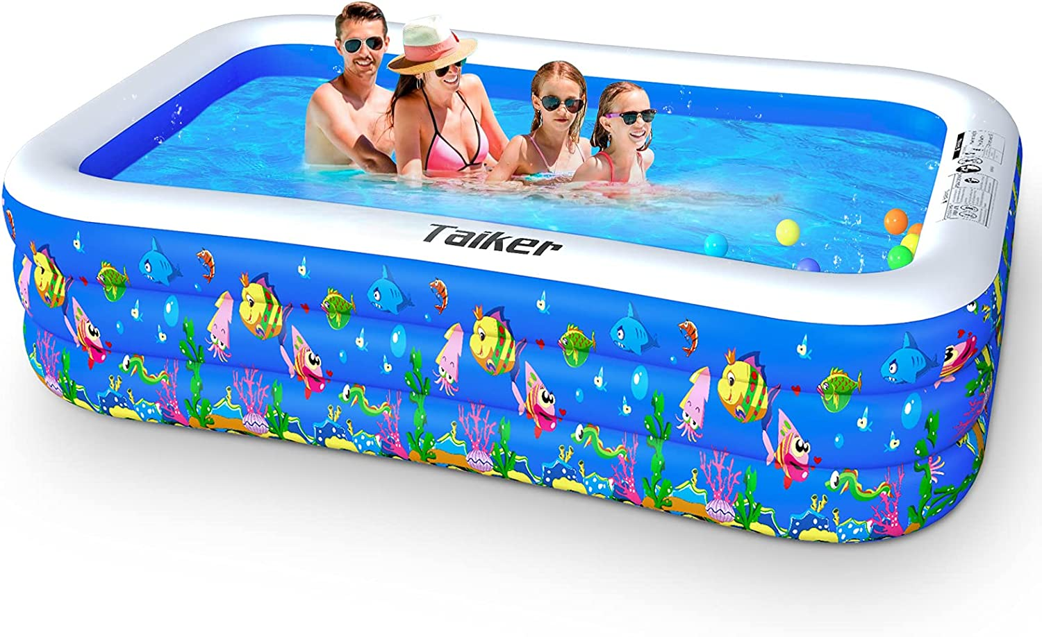 Taiker Inflatable Swimming Pools Kiddie Pools Family Lounge Pools 96 X 57 X 21 Large Family Swimming Pool For Kids Adults Babies Toddlers Outdoor Garden Backyard Garden Outdoor