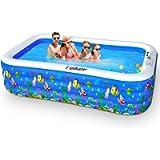 Taiker Inflatable Swimming Pools, Kiddie Pools, 95 x 56 x 22 in Family Lounge Pools, Family Swimming Pool for Kids…