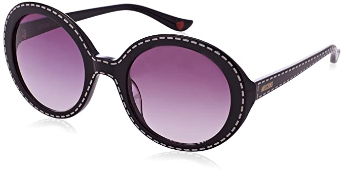 Womens Round Eye Sunglasses, Black (Nero/Rosso), 57 Moschino