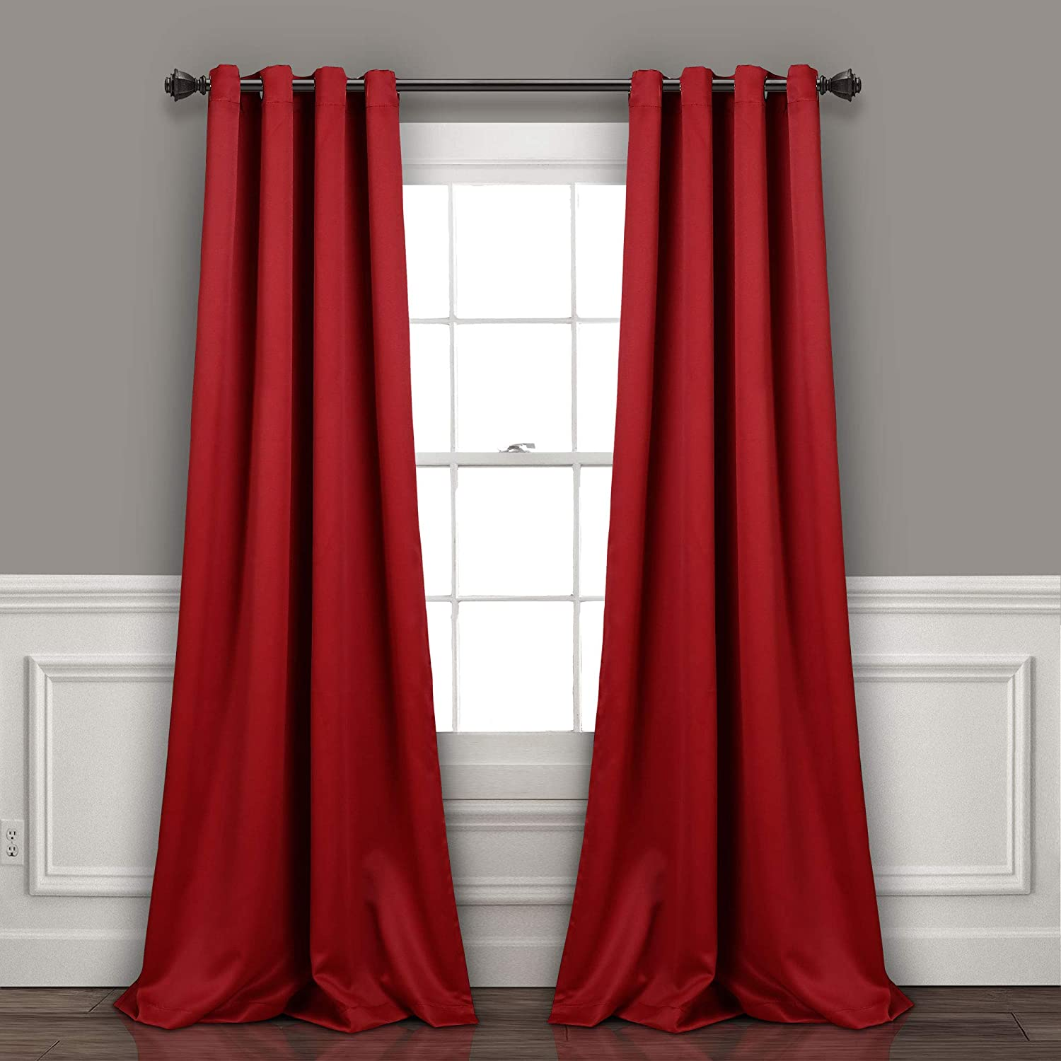 "Lush Decor Curtains-Grommet Panel with Insulated Blackout Lining, 95"" L Pair, Red"