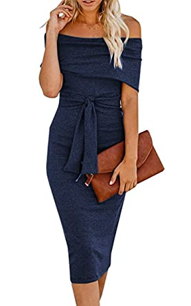 206393e06cf6 Angashion Womens Sexy Off Shoulder Long Sleeve Bodycon Midi Knit Cocktail  Evening Sweater Dress with Belt