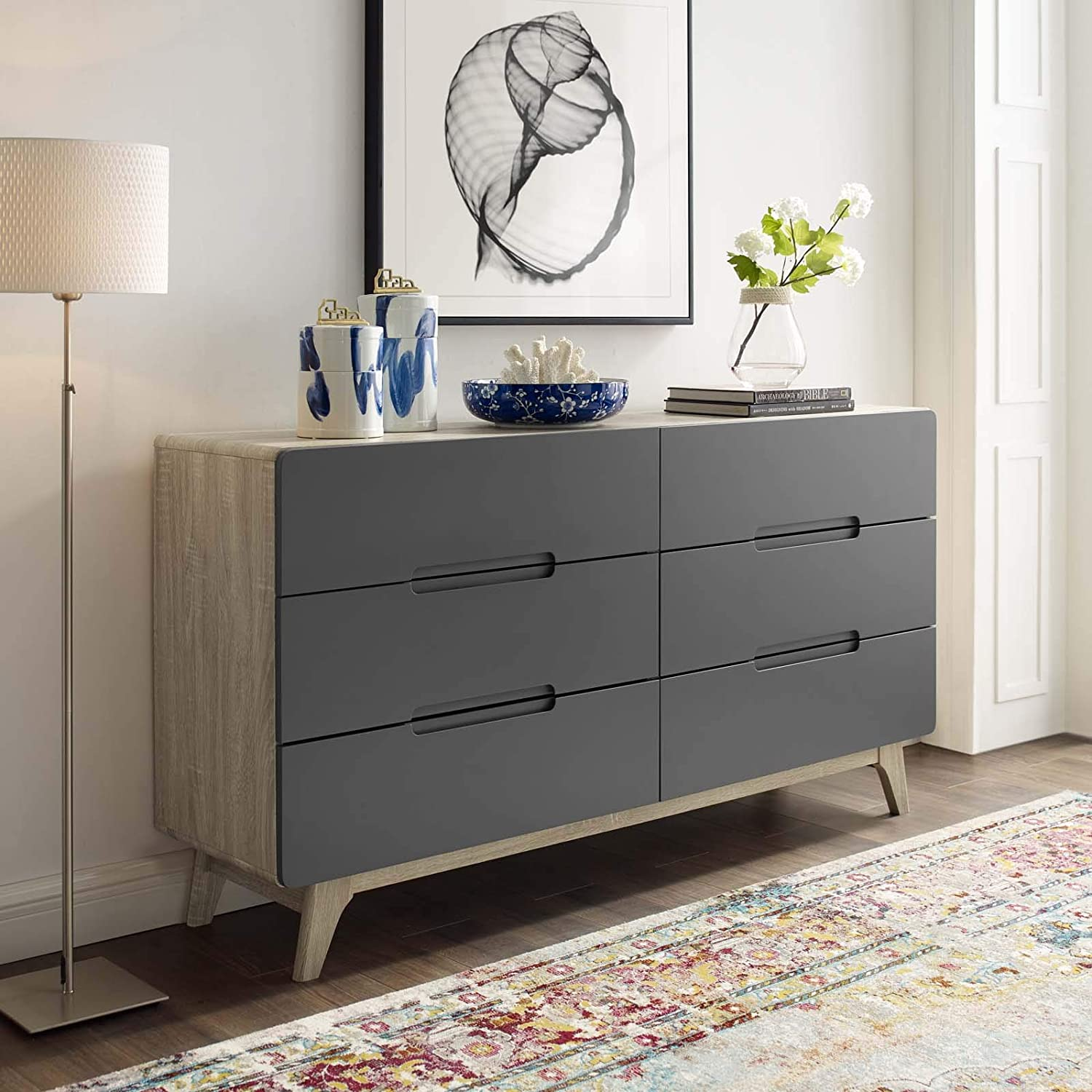Amazon Com Modway Origin Contemporary Mid Century Modern 6 Drawer Bedroom Dresser In Natural Gray Furniture Decor