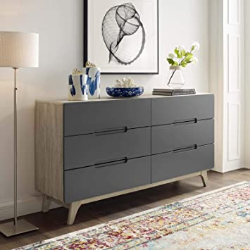 Modway Origin Contemporary Mid-Century Modern 6-Drawer Bedroom Dresser in  Natural Gray