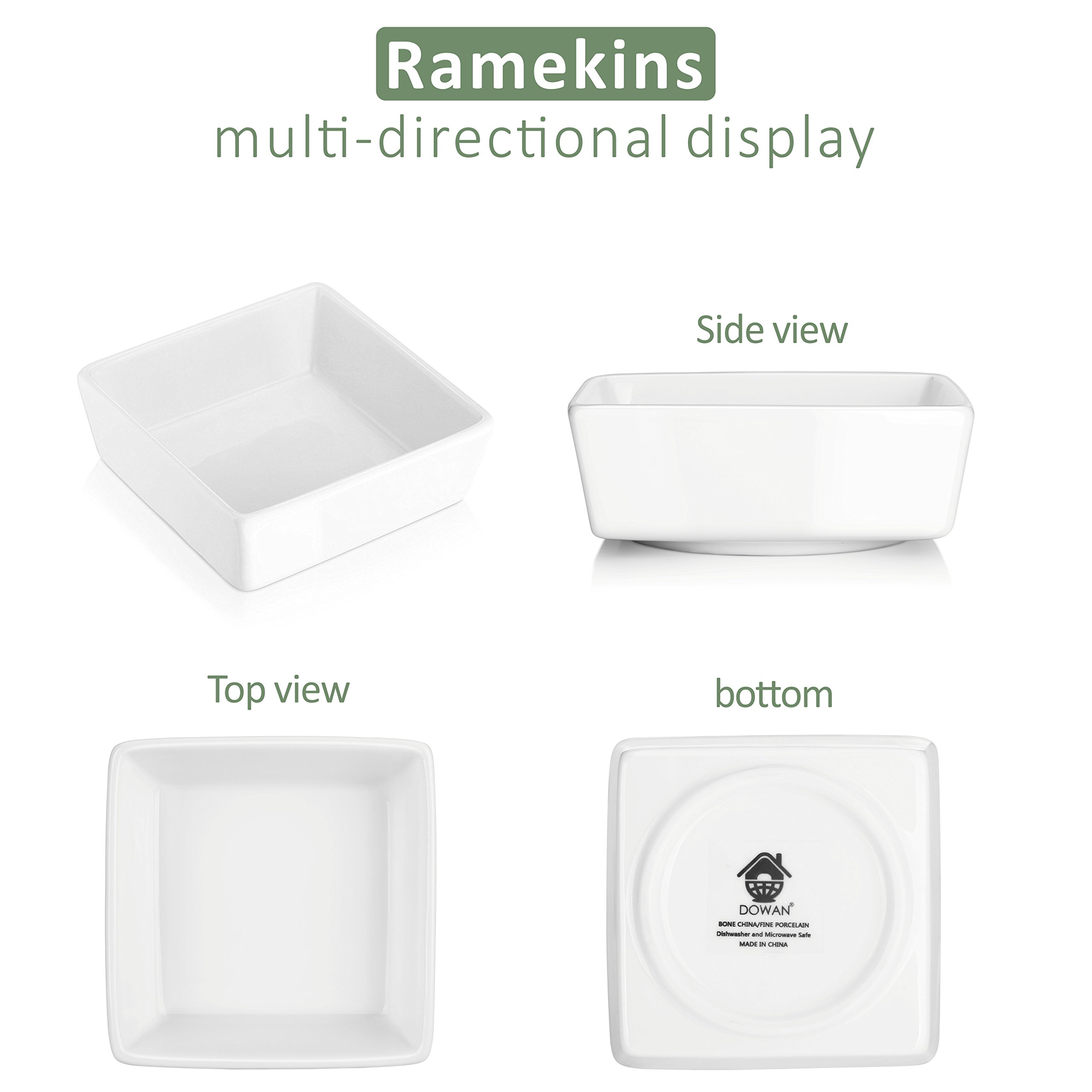 DOWAN 6oz Porcelain Ramekins - 6 Packs, White by DOWAN (Image #5)
