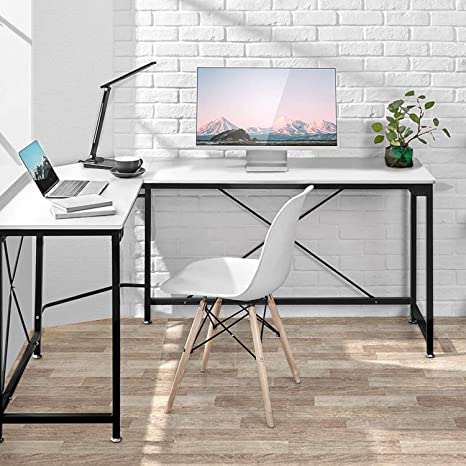 Computer Desk, Modern PC Laptop Home Office Desk, Industrial Style Design  L-Shaped Corner Desk for Home Office Desk with MDF Board, 64.9x49x29.7 ...