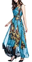Wantdo Women's Peacock Beach Dress Maxi Dress Bohemian Plus Size