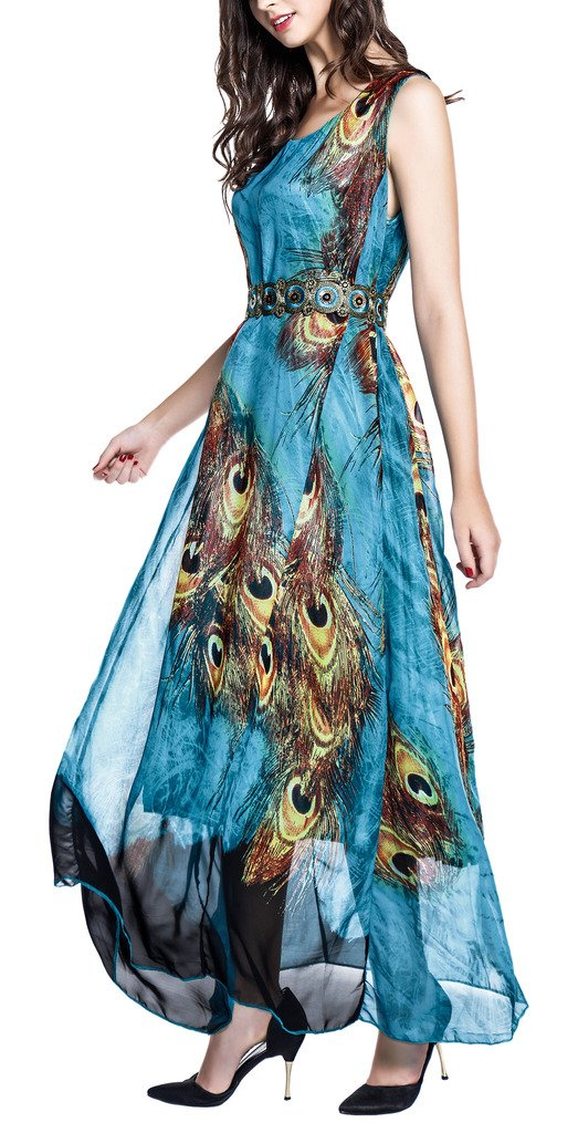Wantdo Women's Peacock Beach Dress Maxi Dress Bohemian Plus Size