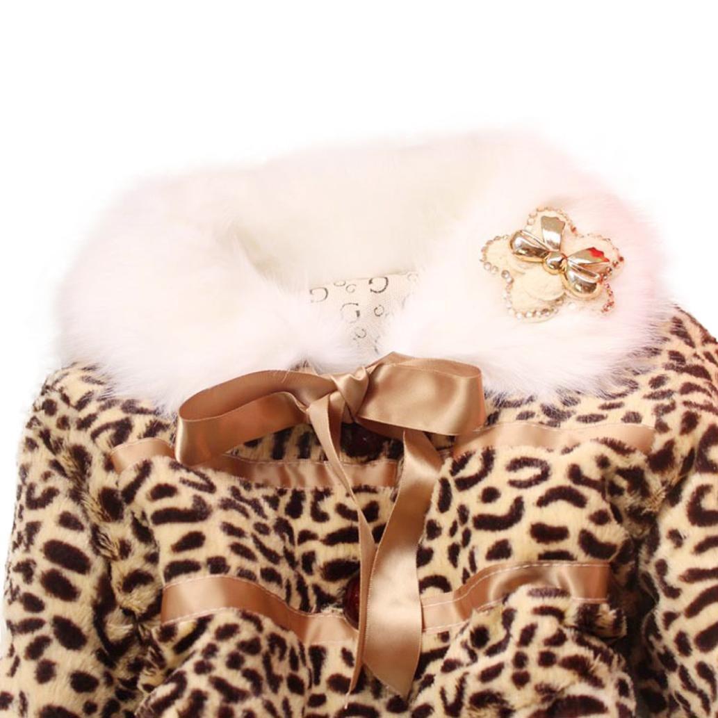 Koly Baby Girls Kids Toddler Leopard Outwear Clothes Winter Jacket Coat Snowsuit