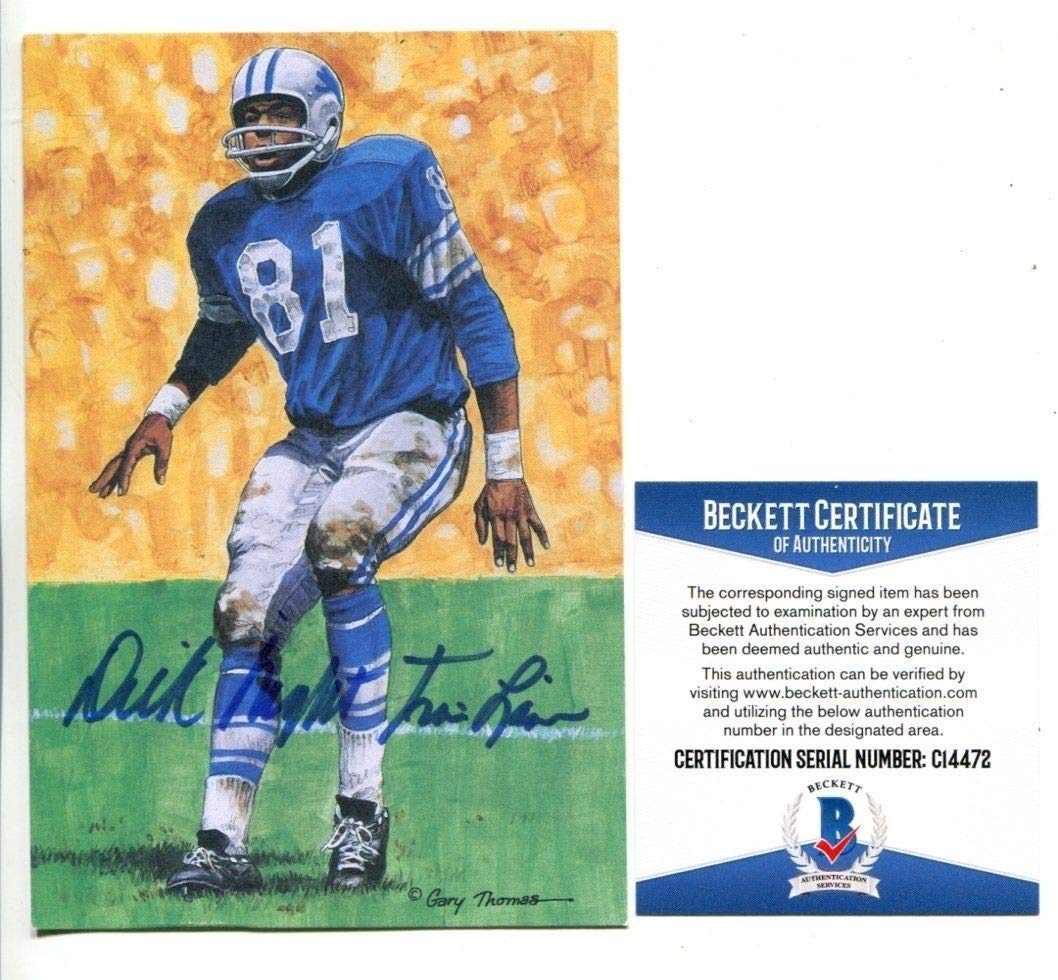 Dick Night Train Lane Signed Goal Line Art GLAC Autographed Lions Beckett BAS