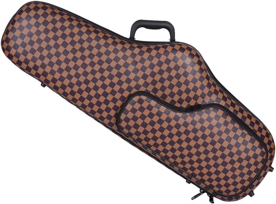 Almencla B Flat Alto Saxophone Bb Sax Bag Case Hard Board Double Zipper Thicken Padded with Pocket Brown Grid