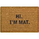 DKISEE Funny Indoor Outdoor Entrance Rug Floor Mat Hi I'M Mat Doormat