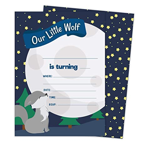 Tarjetas De Invitación Para Cumpleaños De Lobo 1 25