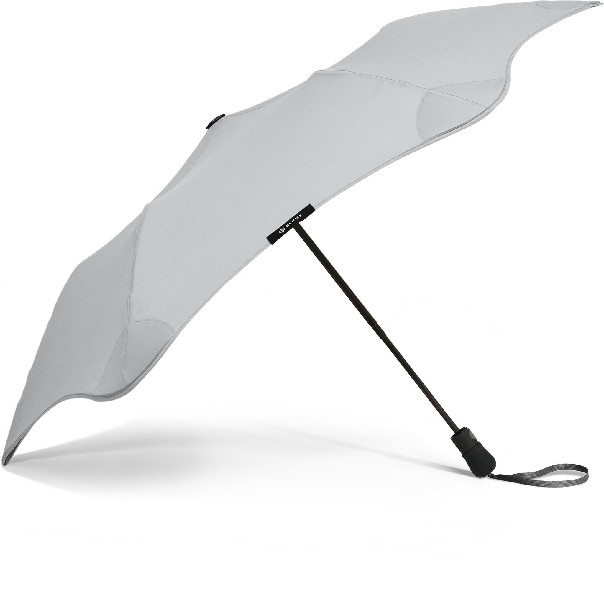 """BLUNT Metro Travel Umbrella with 37"""" Canopy and Wind Resistant Radial Tensioning System - Grey"""